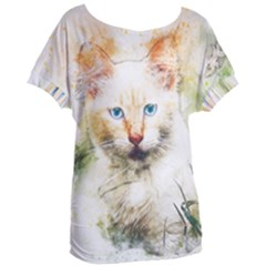 Cat Animal Art Abstract Watercolor Women s Oversized Tee