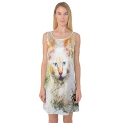 Cat Animal Art Abstract Watercolor Sleeveless Satin Nightdress by Celenk