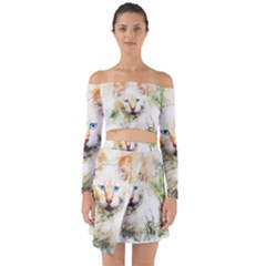 Cat Animal Art Abstract Watercolor Off Shoulder Top With Skirt Set