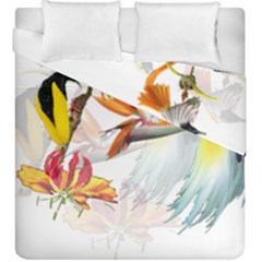 Exotic Birds Of Paradise And Flowers Watercolor Duvet Cover Double Side (king Size) by TKKdesignsCo