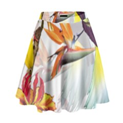 Exotic Birds Of Paradise And Flowers Watercolor High Waist Skirt by TKKdesignsCo