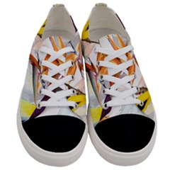 Exotic Birds Of Paradise And Flowers Watercolor Women s Low Top Canvas Sneakers