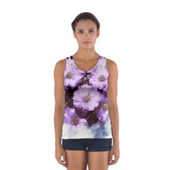Flowers Purple Nature Art Abstract Sport Tank Top