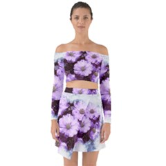 Flowers Purple Nature Art Abstract Off Shoulder Top With Skirt Set