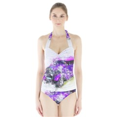 Car Old Car Art Abstract Halter Swimsuit