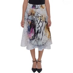 Tiger Roar Animal Art Abstract Perfect Length Midi Skirt by Celenk
