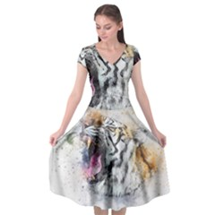 Tiger Roar Animal Art Abstract Cap Sleeve Wrap Front Dress