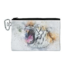 Tiger Roar Animal Art Abstract Canvas Cosmetic Bag (medium) by Celenk
