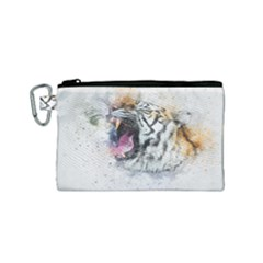 Tiger Roar Animal Art Abstract Canvas Cosmetic Bag (small) by Celenk