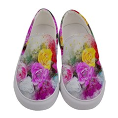 Flowers Bouquet Art Abstract Women s Canvas Slip Ons