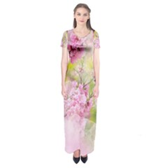 Flowers Pink Art Abstract Nature Short Sleeve Maxi Dress