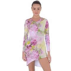 Flowers Pink Art Abstract Nature Asymmetric Cut-out Shift Dress