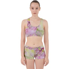 Flowers Pink Art Abstract Nature Work It Out Sports Bra Set