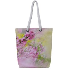 Flowers Pink Art Abstract Nature Full Print Rope Handle Tote (small)