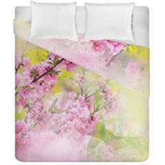 Flowers Pink Art Abstract Nature Duvet Cover Double Side (california King Size) by Celenk