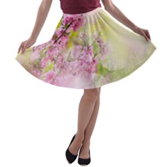 Flowers Pink Art Abstract Nature A Line Skater Skirt