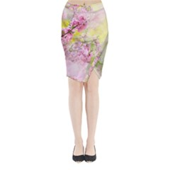 Flowers Pink Art Abstract Nature Midi Wrap Pencil Skirt