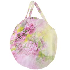 Flowers Pink Art Abstract Nature Giant Round Zipper Tote by Celenk
