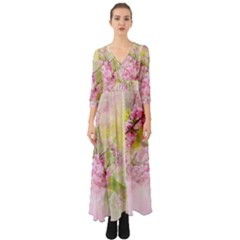 Flowers Pink Art Abstract Nature Button Up Boho Maxi Dress by Celenk