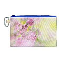 Flowers Pink Art Abstract Nature Canvas Cosmetic Bag (large) by Celenk