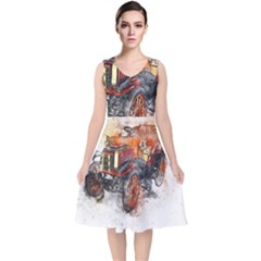 Car Old Car Art Abstract V Neck Midi Sleeveless Dress