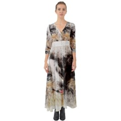 Dog Shetland Pet Art Abstract Button Up Boho Maxi Dress