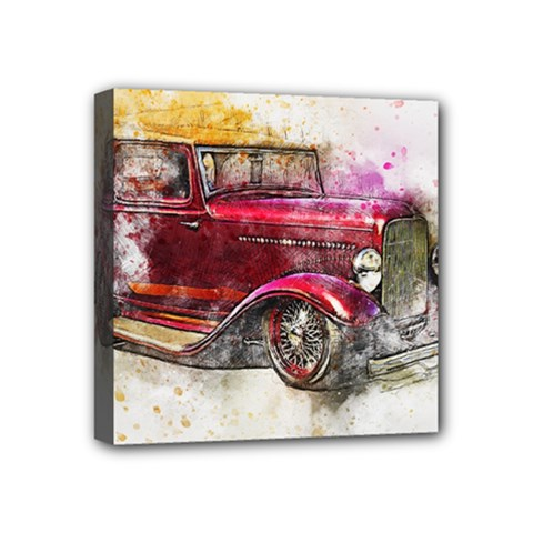 Car Old Car Art Abstract Mini Canvas 4  X 4  by Celenk