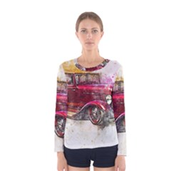 Car Old Car Art Abstract Women s Long Sleeve Tee by Celenk