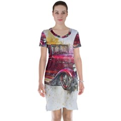 Car Old Car Art Abstract Short Sleeve Nightdress by Celenk