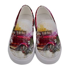 Car Old Car Art Abstract Women s Canvas Slip Ons