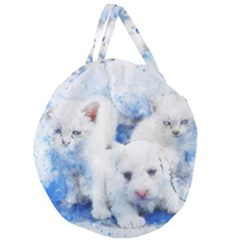 Dog Cats Pet Art Abstract Giant Round Zipper Tote
