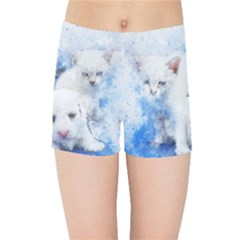 Dog Cats Pet Art Abstract Kids Sports Shorts by Celenk
