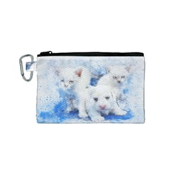Dog Cats Pet Art Abstract Canvas Cosmetic Bag (small) by Celenk