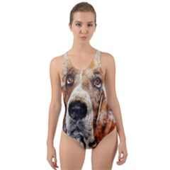 Dog Basset Pet Art Abstract Cut Out Back One Piece Swimsuit