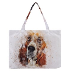 Dog Basset Pet Art Abstract Zipper Medium Tote Bag by Celenk