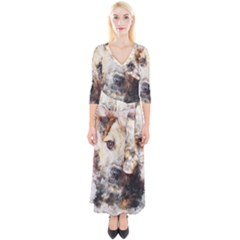 Dog Animal Pet Art Abstract Quarter Sleeve Wrap Maxi Dress