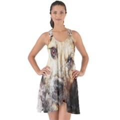 Dog Animal Pet Art Abstract Show Some Back Chiffon Dress by Celenk
