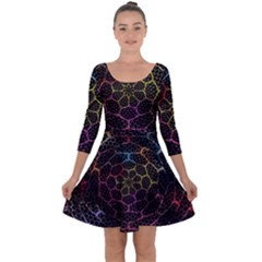 Background Grid Art Abstract Quarter Sleeve Skater Dress