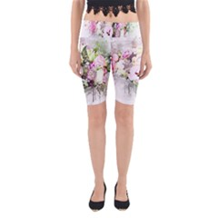 Flowers Bouquet Art Abstract Yoga Cropped Leggings by Celenk