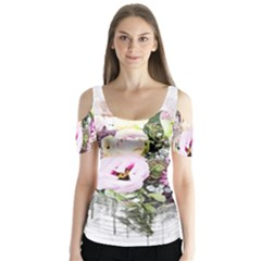 Flowers Bouquet Art Abstract Butterfly Sleeve Cutout Tee  by Celenk