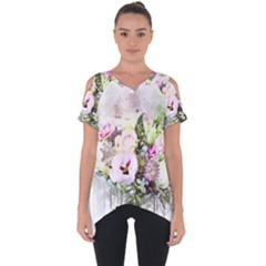 Flowers Bouquet Art Abstract Cut Out Side Drop Tee