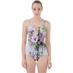 Flowers Bouquet Art Abstract Cut Out Top Tankini Set by Celenk