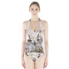 Bird Owl Animal Art Abstract Halter Swimsuit