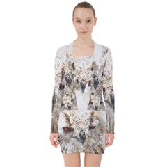 Bird Owl Animal Art Abstract V Neck Bodycon Long Sleeve Dress