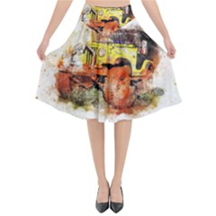 Car Old Car Fart Abstract Flared Midi Skirt by Celenk