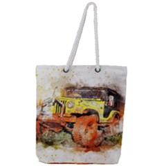 Car Old Car Fart Abstract Full Print Rope Handle Tote (large)