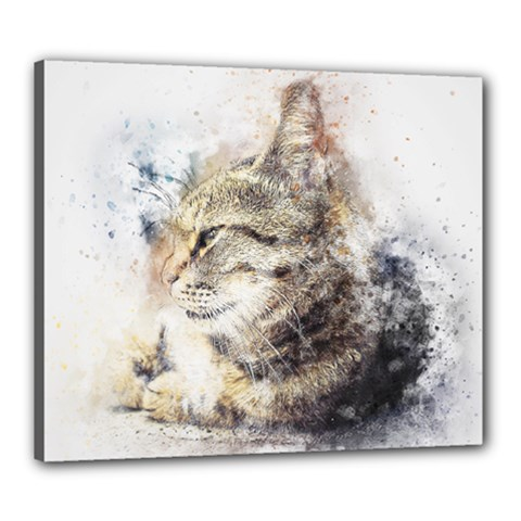 Cat Animal Art Abstract Watercolor Canvas 24  X 20  by Celenk