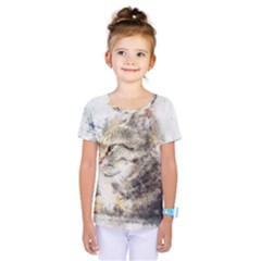 Cat Animal Art Abstract Watercolor Kids  One Piece Tee