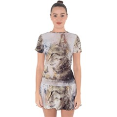 Cat Animal Art Abstract Watercolor Drop Hem Mini Chiffon Dress