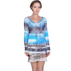 Car Old Car Art Abstract Long Sleeve Nightdress